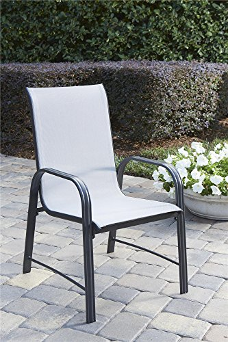 COSCO 88645GLGE Outdoor Living Paloma Steel Patio Dining Chairs, 6-Pack, Light/Drak Gray