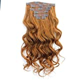 20 Inches Copper Hair Loose Wave Human Hair Clip in Hair Extensions Virgin Hair Weaving Weft clip on hair extensions(20' 120g, 30#)