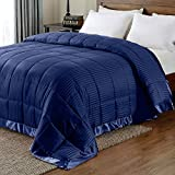 downluxe Lightweight King Down Alternative Blanket with Satin Trim, Navy, 90 X 108 Inch