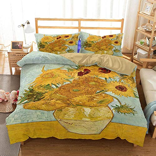 WZSZSA Duvet Cover Bedding Set 3 Pieces Double Bed Van Gogh sunflower 3D Printed,with 2 Pillowcases Zipper Closure Design Microfiber Duvet Cover Bed Set Anti-allergic 79x79 inch