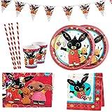 Yisscen Compleanno per Bambini Stoviglie Bing Bunny Animati Feste Decorazioni Forniture Piatti Tazze Cannucce Tovaglia Striscioni Articoli per Feste 52 Pezzi