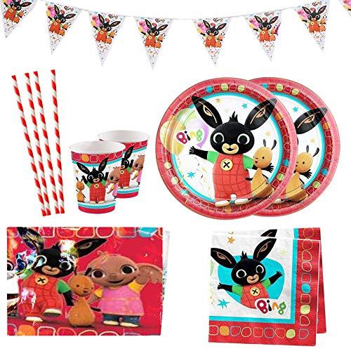 Yisscen juego de fiesta de cumpleaños de 52 piezas, juego de decoración de cumpleaños, accesorios de fiesta de cumpleaños de dibujos animados temáticos con pancartas, platos, servilletas, manteles