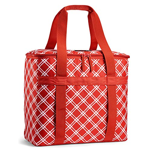 Rachael Ray ChillOut Flex Tote, Insulated Cooler Bag, Bias Plaid Red