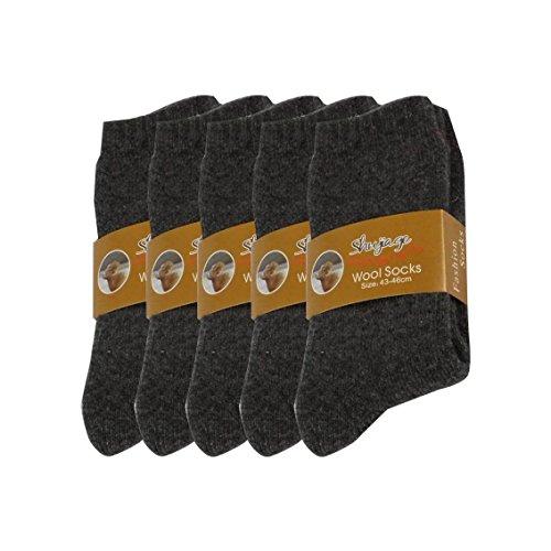 Pluto & Fox Calcetines Térmicas Gruesos Cálidos De Lana Borrego Para Hombre Color Liso Invierno Para Calentar Los Pies O Para Trabajos Duros Pack de 5 Pares (Oscuro, 39-44)