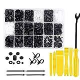 EasyULT Tools Set da 720 Pezzi, Rivetti in Plastica per Auto Universal Auto Nero Clip Nylon, Attrezzi per lo Smontaggio dell'auto, per Clip da Portiera, Morsetti Paraurti, Clip di Fissaggio