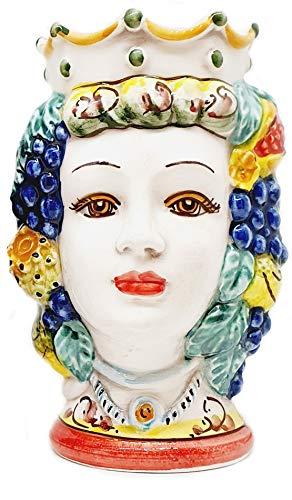 sicilia bedda - Teste di Moro Siciliane in Ceramica di Caltagirone - Realizzate e Decorate Interamente a Mano - Altezza 18 Centimetri (Testa di Moro Donna)