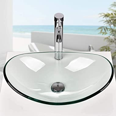 ELECWISH Boat Shape Sink Tempered Glass Bathroom Artistic Glass Vessel Sink Free Chrome Faucet and Pop-up Drain