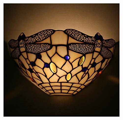 Tiffany-Stil Libelle Korridor Wandleuchten ein Kopf Schlafzimmer Betten Farbe Glas Lampenschirm Wand Scocne Balkon Veranda Spiegel vorne Badezimmer Wandleuchten,E