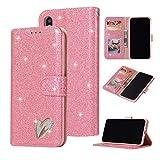 E FASHION iPhone 5/5s/SE ケース 手帳型 合皮PUレザー 柔軟性TPU 全面保護【選べる4色】 アイフォン5/5s/SE 対応 人気 女性 愛の形 カード収納 スタンド機能 マグネット式 財布型 フリップカバー (iphone 5/5s/SE,ピンク