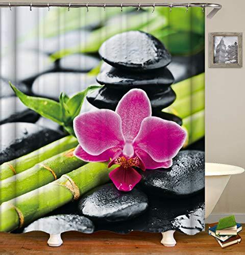 Duschvorhang, Bambus Stein Orchidee, Waschbares 100prozent Polyester, Wasserdichtes Beständig mit Plastikhaken, Antiform-Form-Freie Bad-Gardinen Langer, 180 x 200 cm