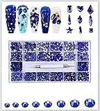 Cristales para uñas – Kit de diamantes de imitación de uñas sin Hotfix, kit de joyas de diseñador de uñas para Bedazzler Fantasy Nails. VOSOVO 10040 Pcs/Box-600+4700 Azul Oscuro