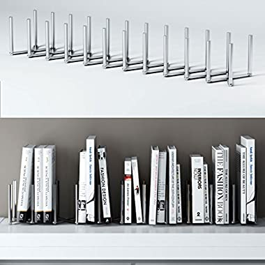 Adjustable Book Holder Bookend 11 Sections Extends up to 39  Length Stainless Steel Unique Design