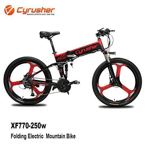 Cyrusher XF770 Mans Folding Electric Bike 17 X 26 inch Mountain Bike Full Suspension 250 Watt 48V 27 Speeds with Power Off Anti-Slip Mechanical Disc Brake and Smart Bike Computer (Red)