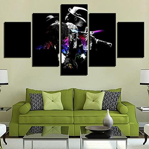 45Tdfc Impresión de Lienzo de Pared Arte Imagen Music Star 15 Famosa Persona 5 Piezas Pinturas Moderna Estirada Enmarcado Arte el para decoración del hogar
