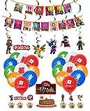 smileh Roblox Cumpleaños Decoracion Juego Globos Pancarta de Feliz Cumpleaños Tarta Decoracion Colgando Remolinos Decoraciones Gamer Cumpleaños Decoración