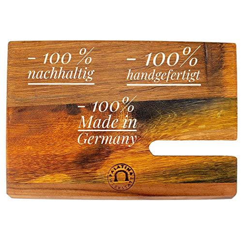 Palatina Werkstatt ® tagliere realizzato a mano (facciata) progettato appositamente per affettatrice Berkel Red Line 220 – 250 Ö realizzato dalle colonne delle vecchie botti di vino.