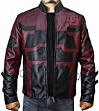 The Jasperz Charlie Cox Daredevil Maroon Leather Jacket Costume for Mens,M