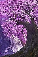 Phinli ジグソーパズルロマンチックな星空の夜景桜の滝夢の城木製大人のパズル1000ピース子供の教育玩具クリスマスプレゼント