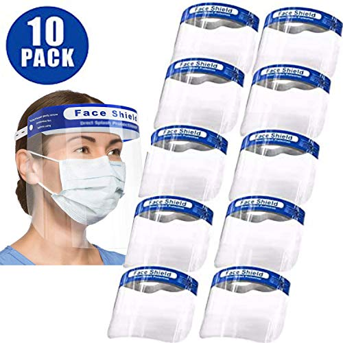 10 Pack All-Round Covering Cap with Clear Wide Visor Lightweight Transparent with Adjustable Elastic Band
