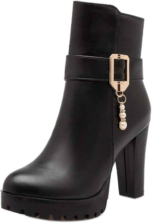 KemeKiss Women Platform Short Boots Block Heel Autumn