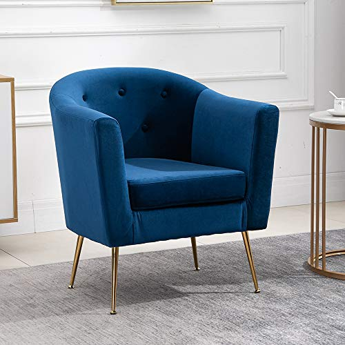 QIHANG-UK Modern Velvet Tub Chair with Metal Legs, Upholstered Oyster Shell Occasional Armchair for Bedroom Office Lounge Reception Cafe, Living Room Soft Padded Fireside Chair-Blue