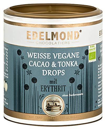 Edelmond Bio Erythrit weiße Schokoladen Perlen. Laktosefreie Schokolade, eine Erythritol Süßigkeit ohne Zucker. 250g Dose