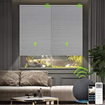 Yoolax Smart Motorized Cellular Shade Compatible with Alexa, Blackout Electric Honeycomb Shades Customized Size, Cordless Single Cell Power Blinds Remote Control Shades for Windows (Grey)