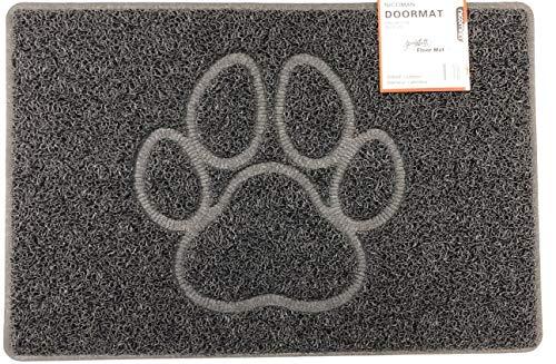 Nicoman Paw - Felpudo con Forma de Huella en Relieve, Felpudo de Espagueti, Negro, Small (60x40cm)