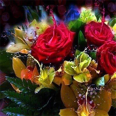 Pintura de diamantes de flores flor de piedra redonda completa bordado de diamantes cuadro de diamantes de imitación de rosas pintura de mosaico A17 45x45cm