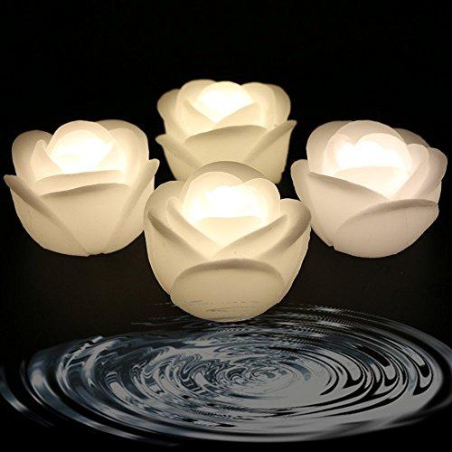 Ardux - Velas flotantes LED con forma de rosa, impermeables, flotantes
