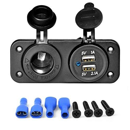 BiaBai Dispositivo de carga USB dual, encendedor de cigarrillos para coche, cargador de coche, adaptador de toma de corriente, divisor de salida de 12 V, accesorios para vehículos