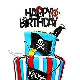 Unimall 1 pieza Piraten-Cake Topper todo lo bueno para cumpleaños tartas decoración para niños velero náutica negro y rojo fiesta accesorios