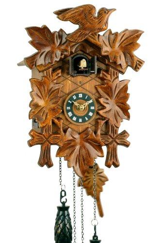 Schwarzwälder Kuckucksuhr aus Echtholz mit batteriebetriebenem Quartzwerk mit Kuckuckruf und Musikspielwerk - von Uhren-Park Eble - Eble -Fünflaub 30cm-