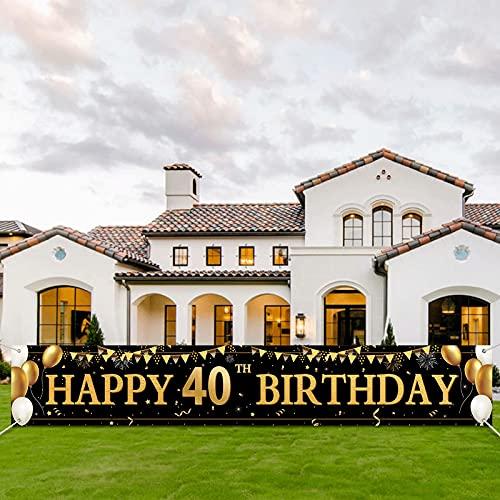 40 Geburtstag Dekoration,40 Geburtstag Mann und Frau,Extra Lange Geburtstag Banner,Deko 40. Geburtstag Frauen,Geburtstagsdeko 40, Stoff Zeichen Poster Hintergrund für Schwarz Gold