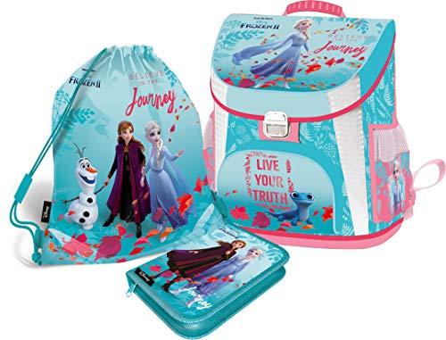 Eiskönigin Frozen Schulranzen Mädchen 1 Klasse Tornister Schulrucksack Schultasche Set 3-teilig für Grundschule super leicht ergonomisch und anatomisch // Made in EU