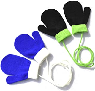 2 Pairs Baby Winter Stretch Gloves Cute Thickening Warm Full Finger Knitted Warm Mittens with String for Infant Toddler Unisex Boys Girls