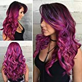 AISI BEAUTY Colorful Wig Cosplay Costume Wig Long Natural Loose Wavy Red Mixed Purple Wigs for Women and Girls