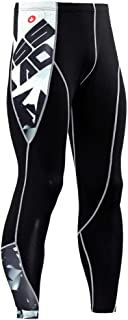 HOOLAZA Men Compession Tights Sports Training Pants Running Workout Trousers