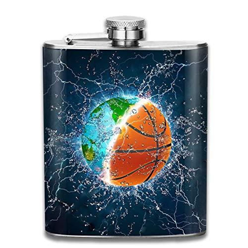 Petaca clásica de acero inoxidable con diseño de balón de baloncesto en fuego y agua, 198,4 ml
