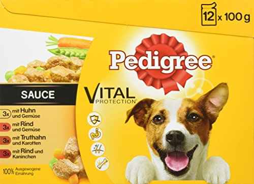 Pedigree Vital Protection / Hundefutter Multipack mit 4 Sorten Fleisch in Sauce