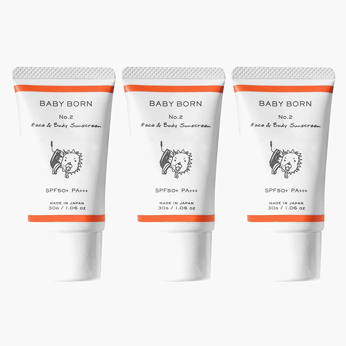 衛星ぴったり乗り出す日焼け止め 赤ちゃんや子どもにも使えるBABY BORN(ベビーボーン) Face&Body Sunscreen 3個セット 日焼け止め UV ケア 東原亜希 高橋ミカ 共同開発 SPF50+/PA++++