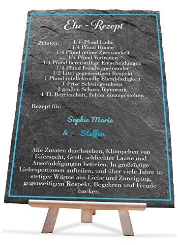 wandmotiv24 Schiefertafel Hochzeit Ehe-Rezept, 20x30cm, Staffelei, Aufsteller, Personalisierte Namen + aufgedrucktes Rezept, Natur-Schieferplatte, Hochzeitsgeschenk für Brautpaare, Verlobung M0124