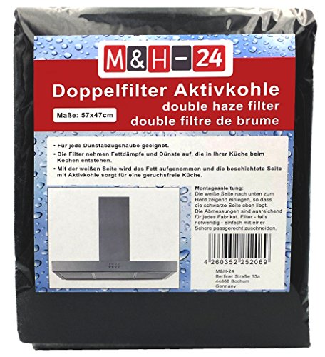 M&H-24 Filtre à Charbon-Actif pour Hotte Aspirante de 60 cm, Filtre Combiné de 57 x 47cm Anti Graisse, Anti Odeur en Fibre Autoextinguible et Charbon Actif Pouvant être Découpé, Noir Lot de 2 Pièces