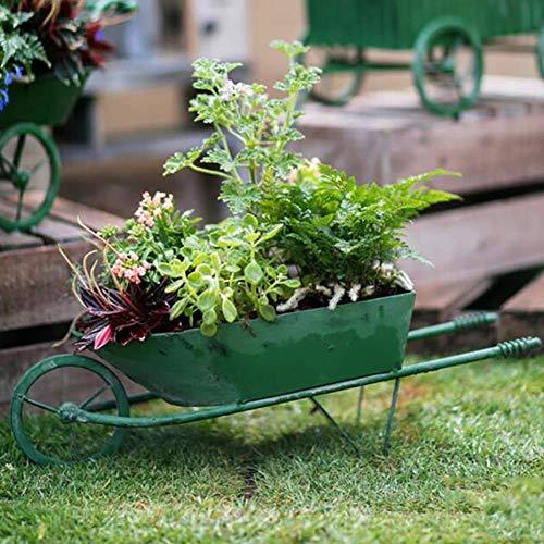 LXDDP Cesta de Flores de Hierro Verde, Maceta para jardín de casa, Triciclo, Soporte para Maceta, Maceta Ornamental Hecha a Mano