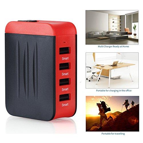 Adaptador Enchufe,Adaptador de viaje Universal de Viaje Cargador 4 Puertos USB para Más Dispositivos Adaptador Multifuncional para US EU UK AU acerca de 150 Países - Milool(Rojo)