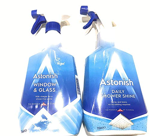 Astonish Cleaning Sprays - Window & Glass Cleaner Spray & Daily Shower Cleaning Spray Twin Pack