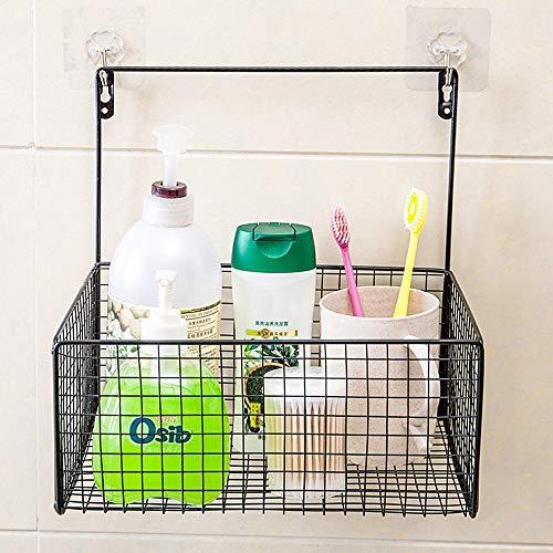 KUNGK douche Caddy opknoping roestvrij staal, geen boren nodig - groot ophangbaar met 2 handdoek haken, voor woonkamer, badkamer, keuken