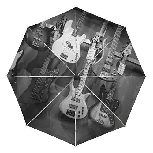 Kleiner Reiseschirm Winddicht Outdoor Regen Sonne UV Auto Compact 3-Fach Regenschirmabdeckung - Schwarz-Weiß-Bassgitarren Akustik