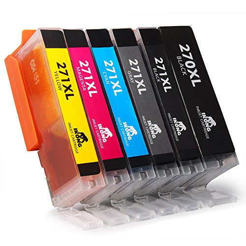 6-Pack IKONG Compatible Ink Cartridge Replacement for Canon PGI-270XL CLI-271XL (1 Big Black, 1 Small Black, 1 Grey, 1 Cyan, 1 Magenta, 1 Yellow) CLI-271 Works with Canon pixma MG7720 TS8020 TS9020