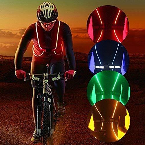 réfléchissant d'éclairage à LED Gilet de sécurité de ceinture pour la course à pied, marche, cyclisme, snowboard, Jogging, randonnée (pas besoin de piles), Red